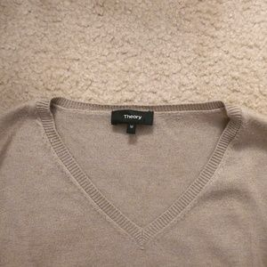 Theory Taupe V-Neck Sweater Medium